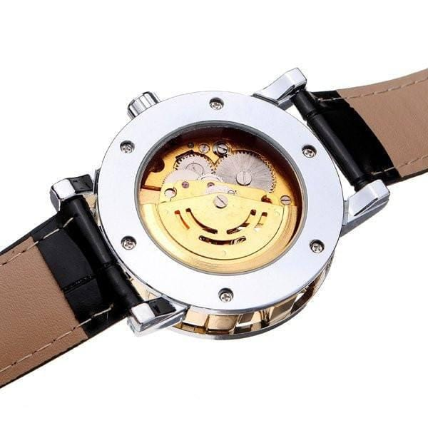 Buckingham Skeleton Watches Gold Dial and Black Leather Strap Back