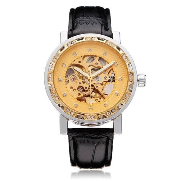 Buckingham Skeleton Watches Gold Dial and Black Leather Strap