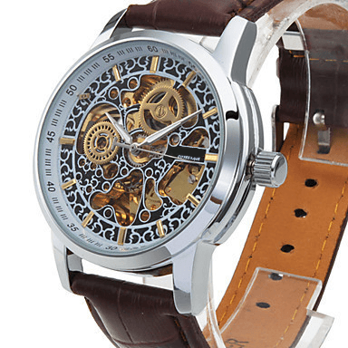 Enigma Skeleton Luxury Watch Leather Strap