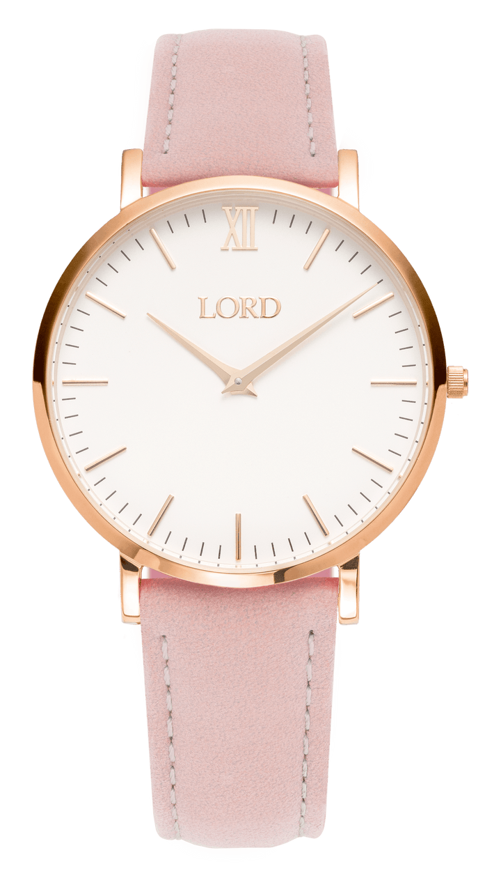 Classic Pink Leather Ladies Luxury Watch White Face Golden Hands