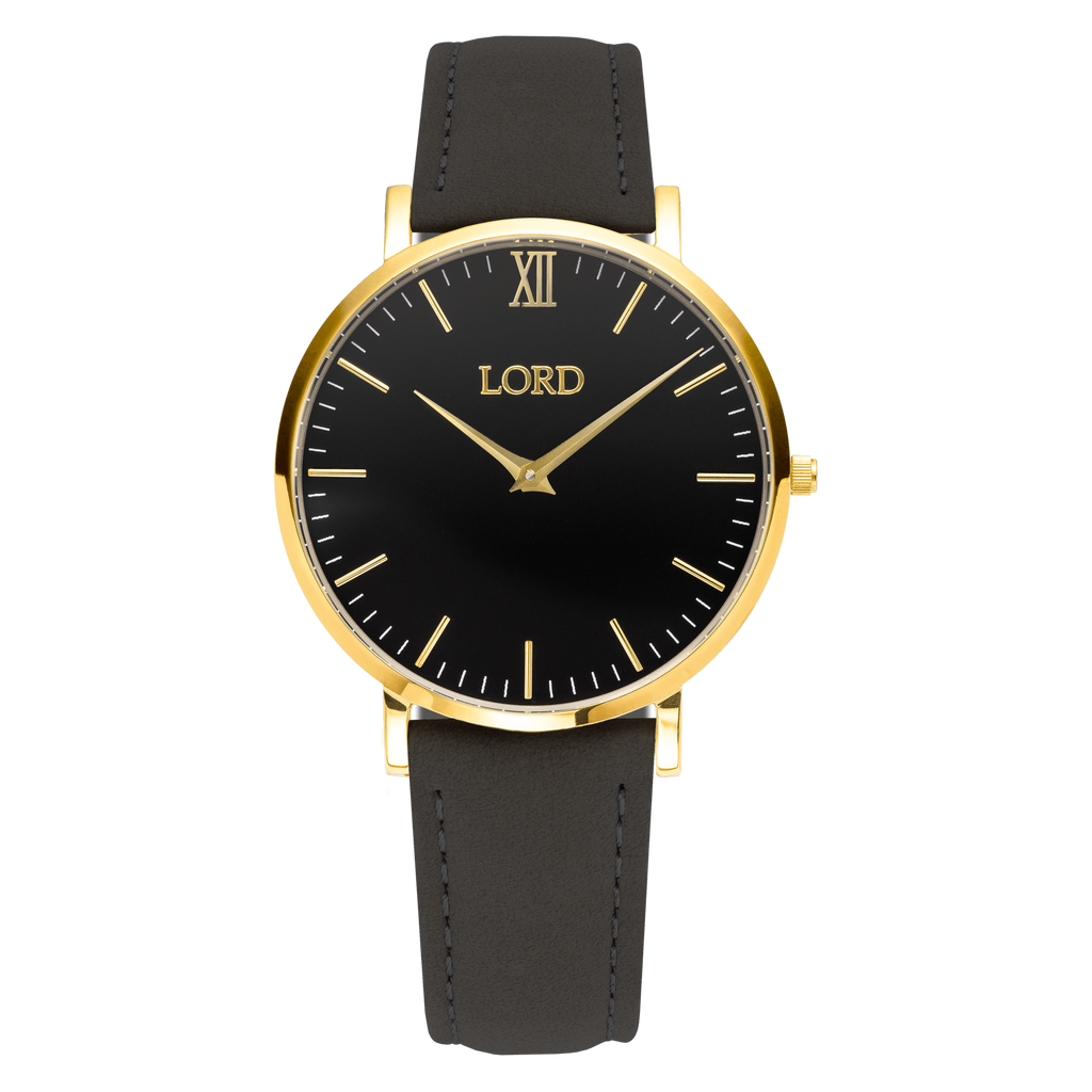 Classic Black Gold Watch Leather Strap