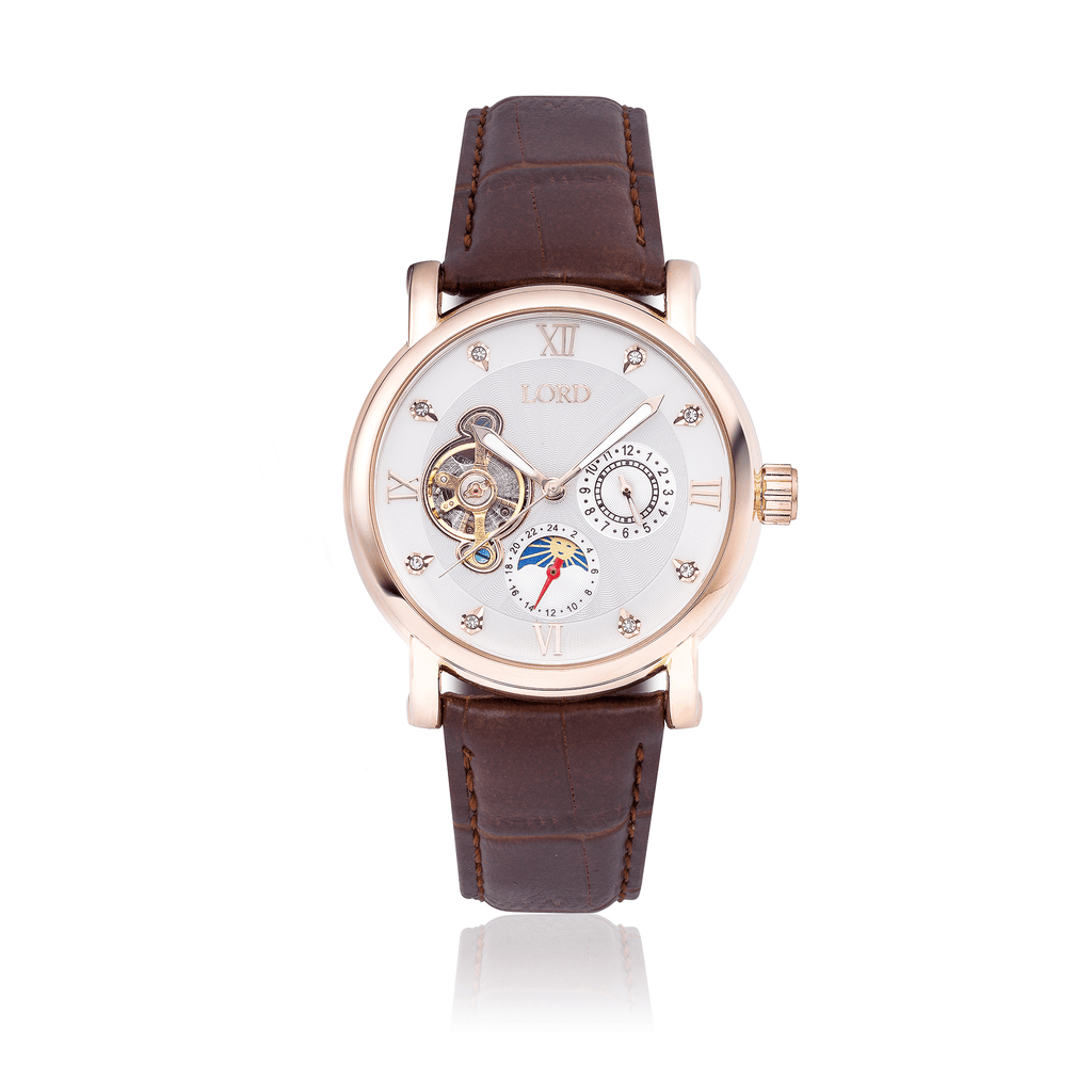 Victoria White Ladies Luxury Watch White Face Brown Leather Strap