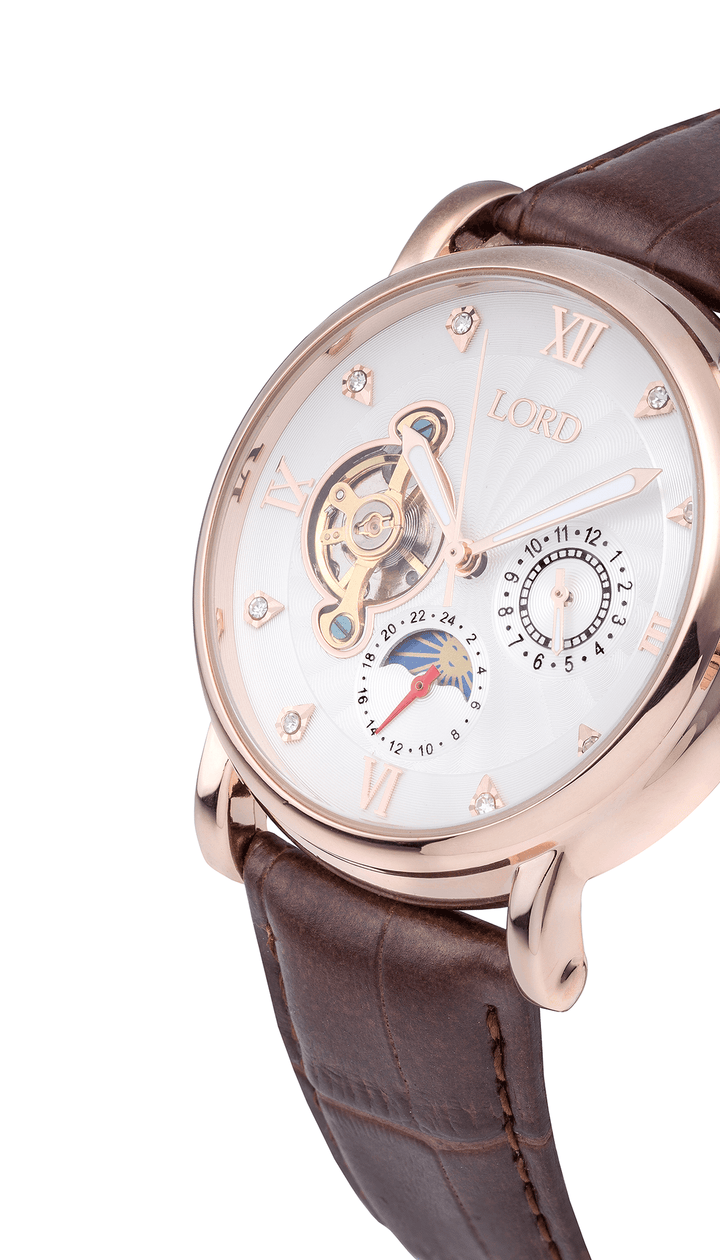 Victoria White Ladies Luxury Watch White Face Brown Leather Strap Side View