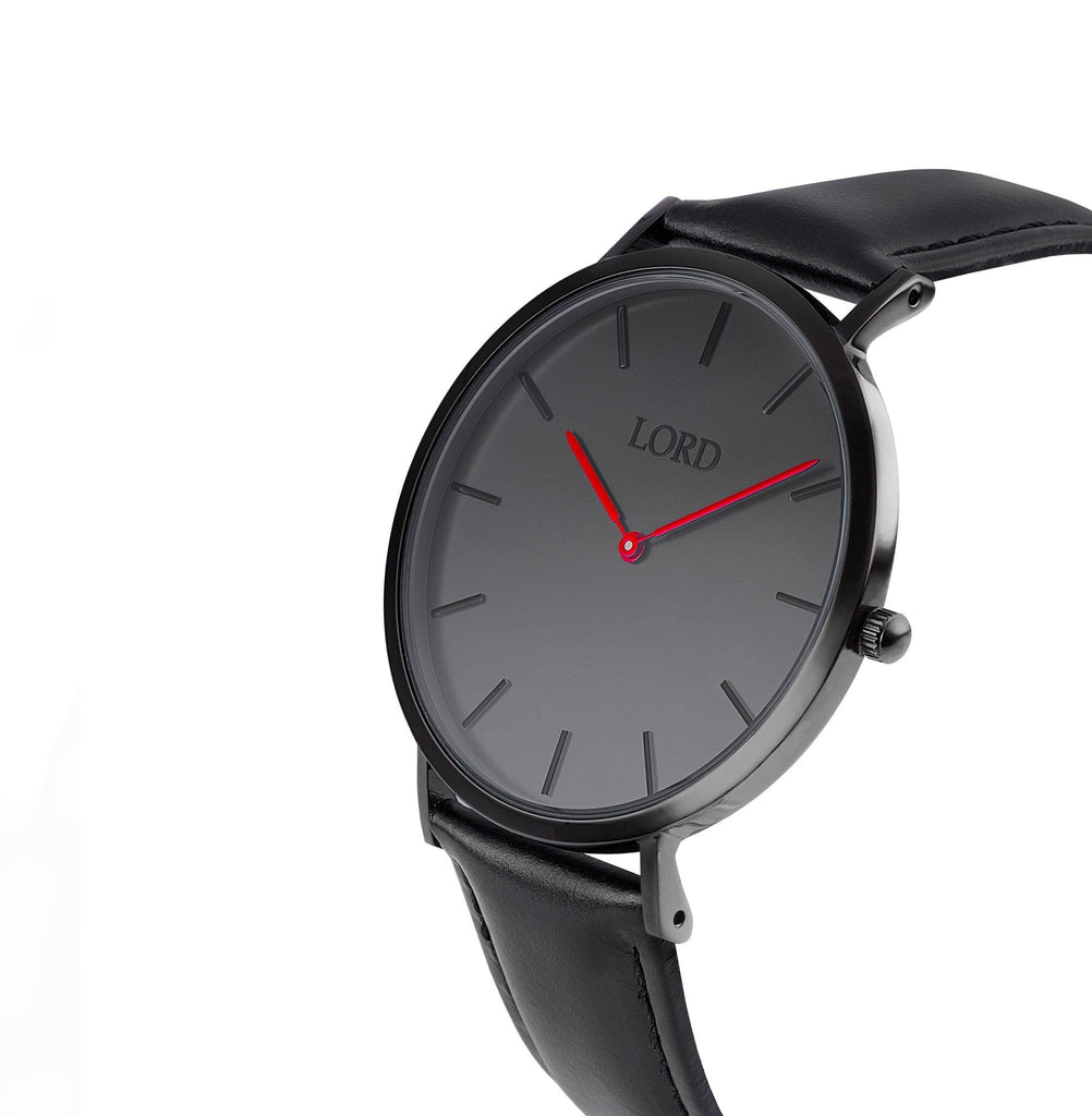 Classic Watch Red Handles On Black Face Side