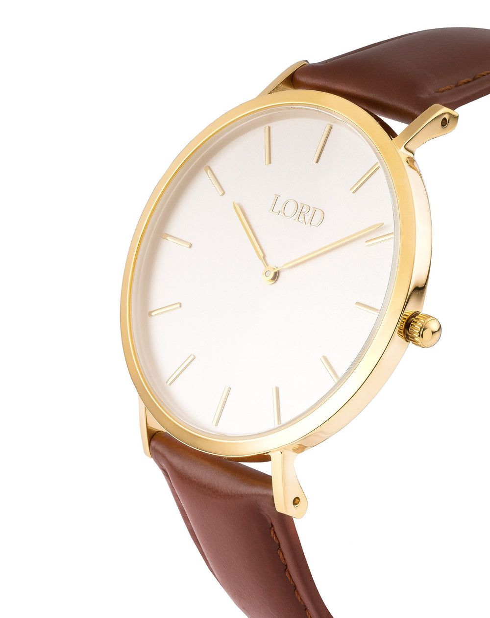 Classic Tan Ladies Watch Gold Handles on White Face Side