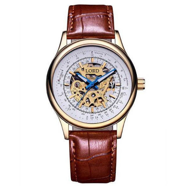 Oxford-Watch-With-Gold-Case-Brown-Leather-Strap-Lord-Timepieces Front