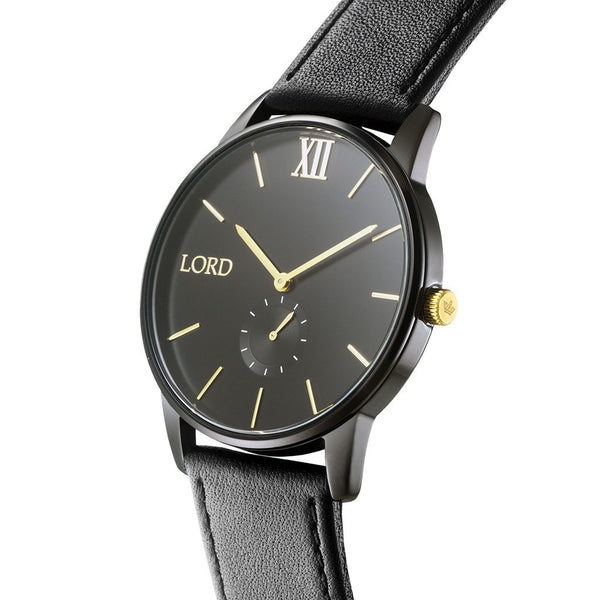 Solitude black gold watch men 39 s watches lord timepieces for Lord timepieces