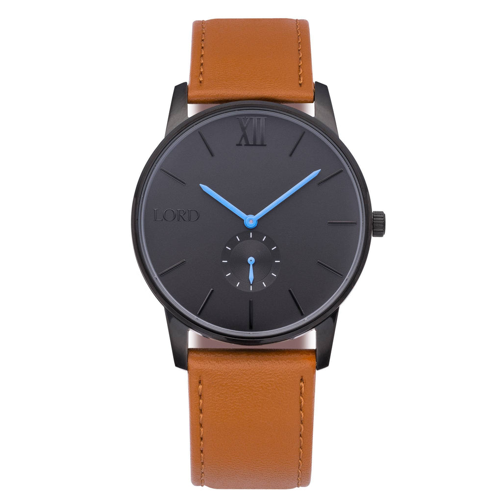 Solitude tan leather watch men 39 s watches lord timepieces for Black tan watch