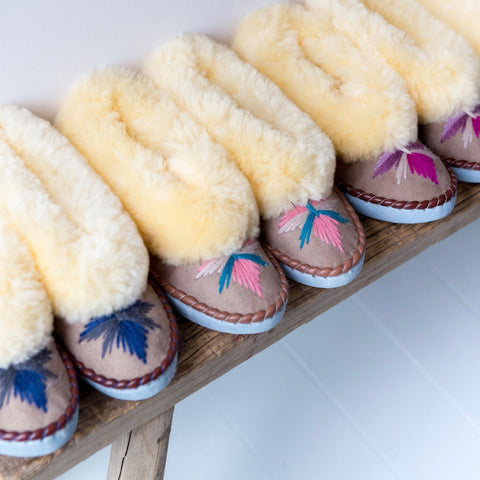 Sheepskin Moccasin Slippers | The Small Home