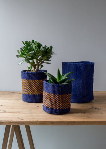 Kenyan Baskets - Navy/Natural Zig Zag