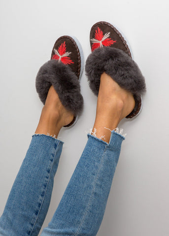 Beaded Moccasin Slipper Boot - Chilli
