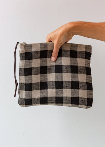Black and Natural Check Zip Pouch - Medium