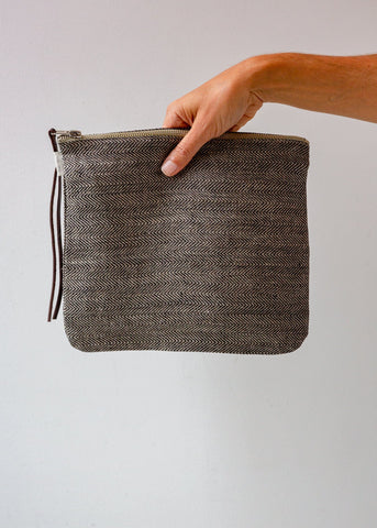 Black and Natural Check Zip Pouch - Large