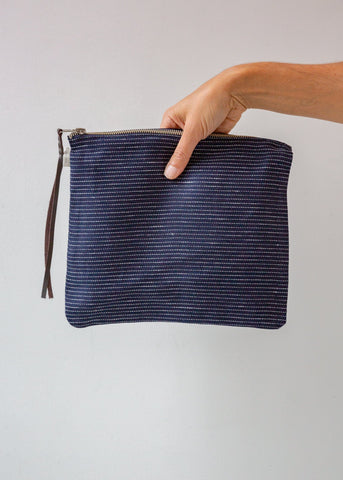 Navy Pin Stripe Zip Pouch - Medium