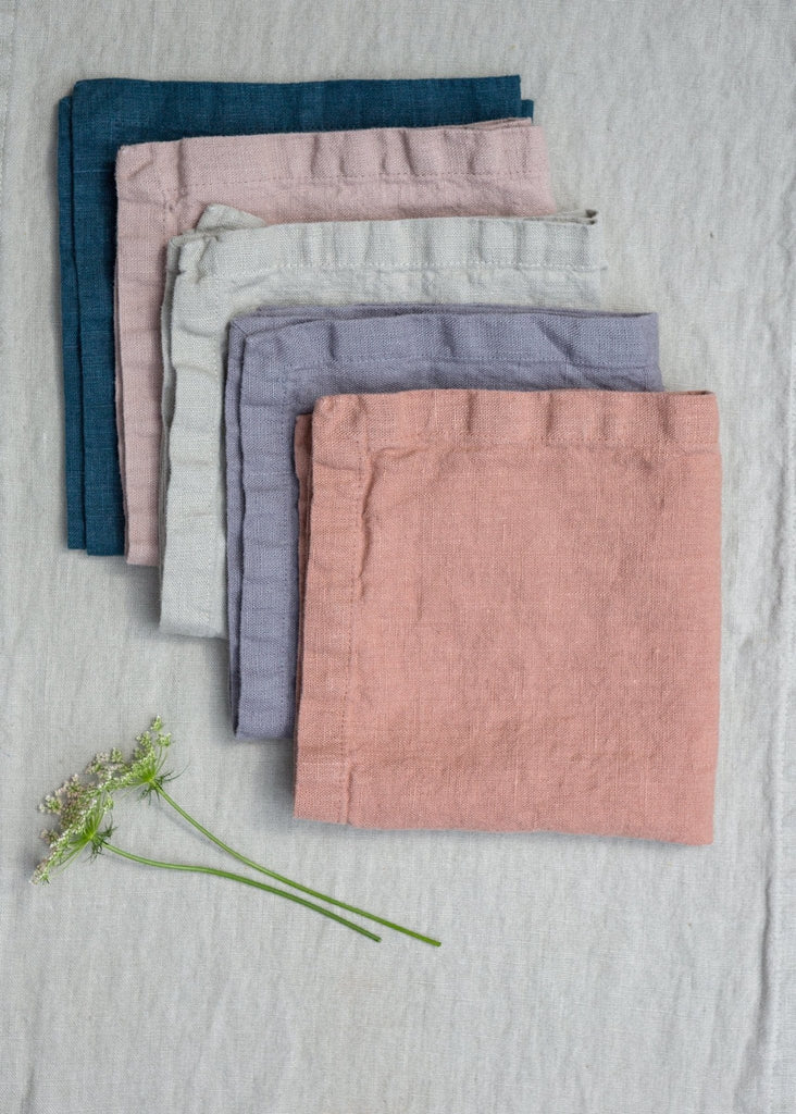 A Pair of Washed Linen Napkins – Pink Sand - The Small Home