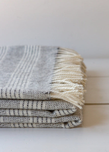 Alpaca Blanket - Natural Stripe - The Small Home
