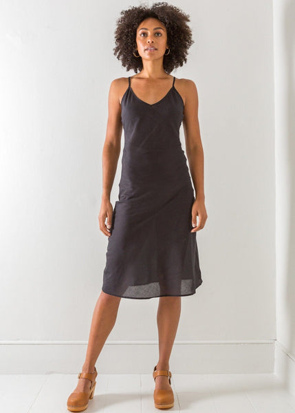 Black Bias-Cut Voile Slip – Long - The Small Home