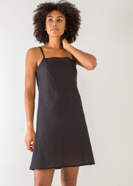 Black Bias-cut Voile Slip – Short - The Small Home