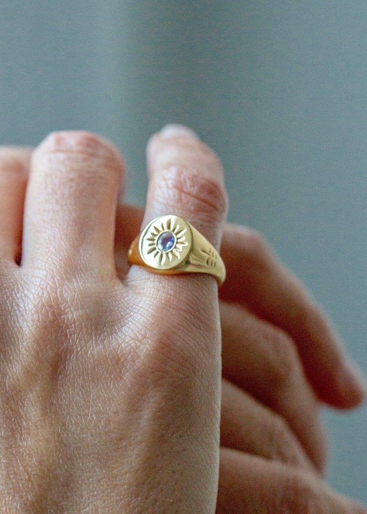 Cabinet – Jewelled Sabal Palm Signet Ring - The Small Home