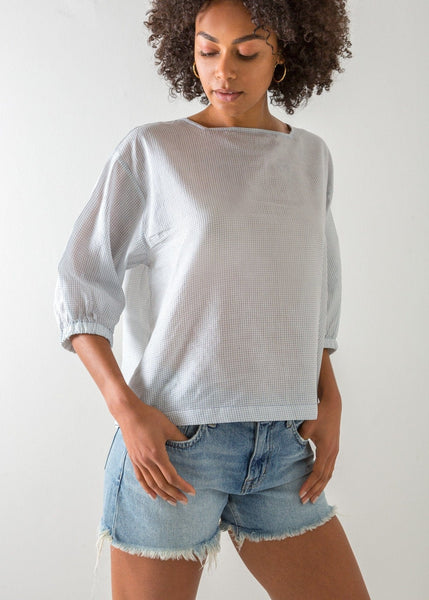 Check Square Neck Top – Natural White - The Small Home