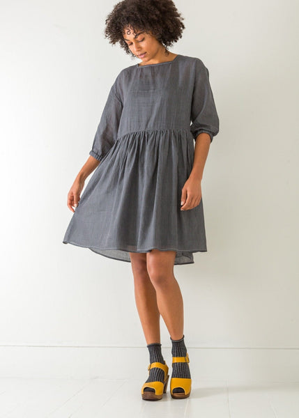 Checked Square Neck Dress – Japanese Blue - The Small Home