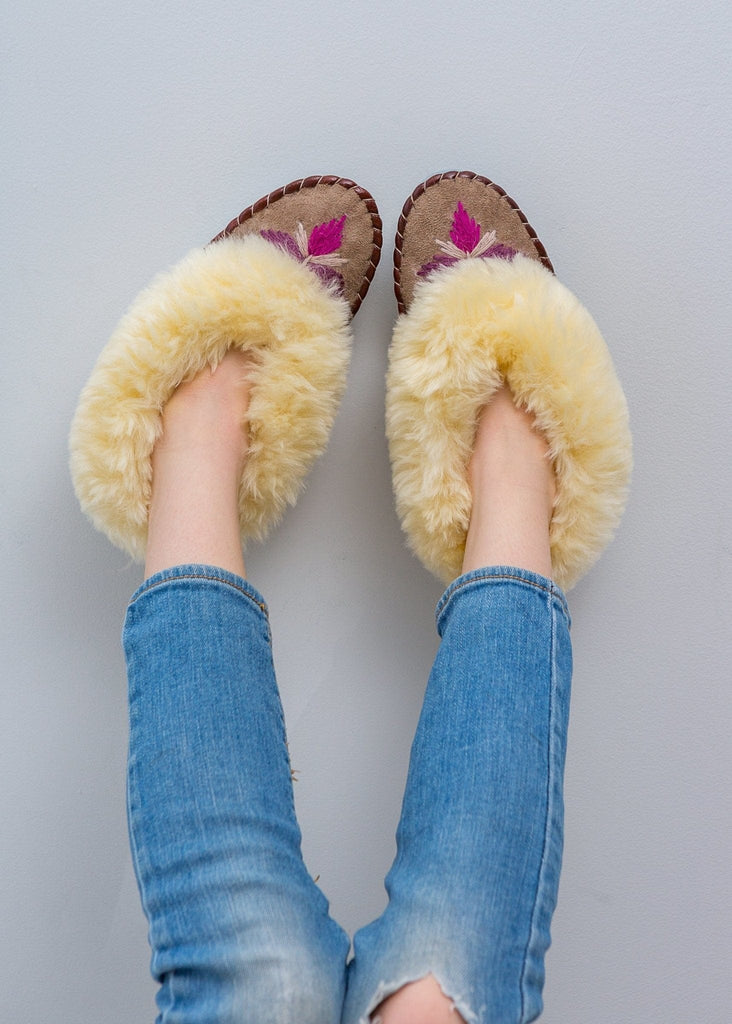Children's Sheepskin Moccasin Slippers, Rhubarb Pink - The Small Home - UK - Warm & cosy fur slippers, for boys & girls