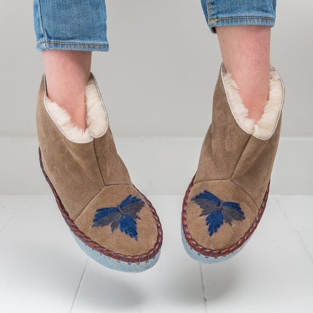Children's Sheepskin Moccasin Slipper Boots, Navy Blue - The Small Home - UK - Warm & cosy fur slippers, for boys & girls