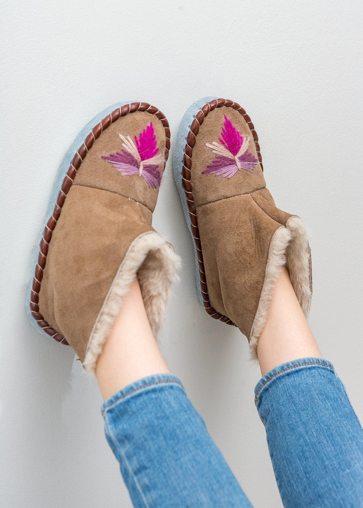 Children's Sheepskin Moccasin Slipper Boots Bright Rhubarb Pink. The Small Home, UK, Warm & cosy fur slippers for girls
