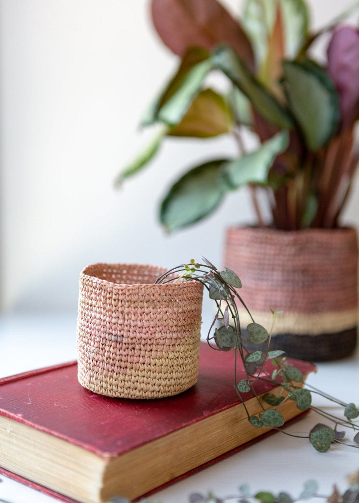 Deep Stripe Basket – Natural/Terracotta/Black – Small - The Small Home