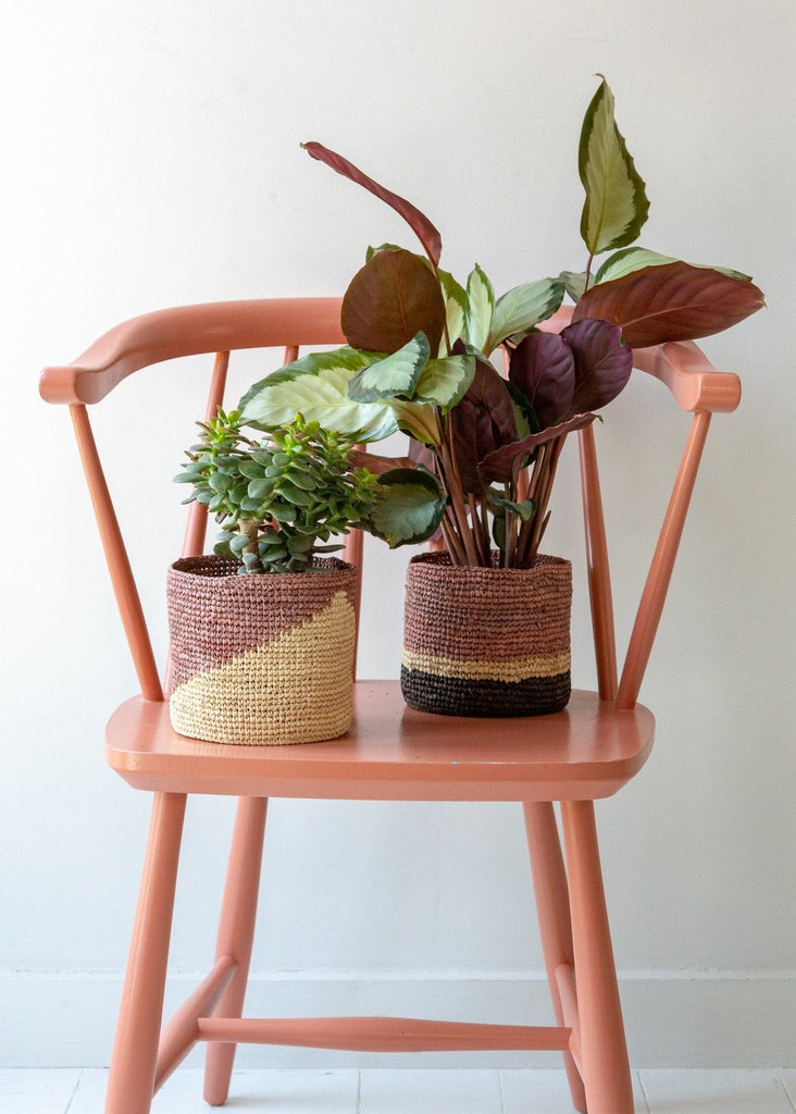 Diagonal Basket – Natural/Terracotta – Small - The Small Home