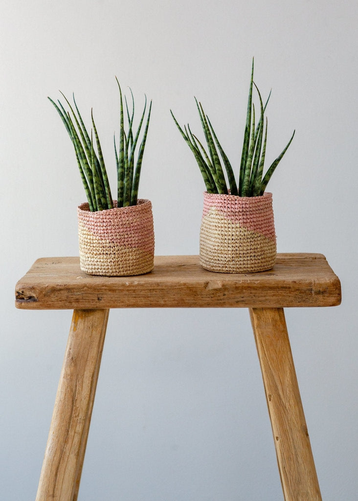 Diagonal Basket – Pink/Natural – XS - The Small Home