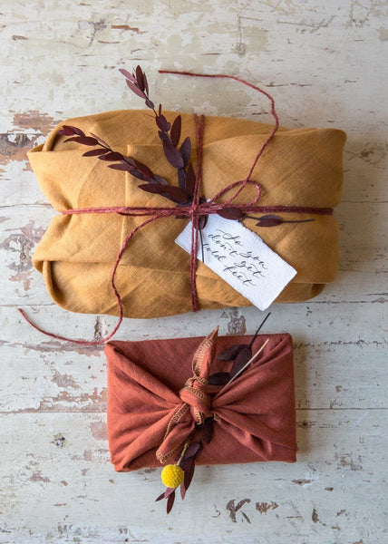 Furoshiki Linen Wrapping – Dijon/Rust – Pack of 2 - The Small Home