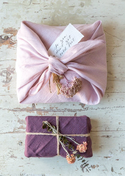 Furoshiki Linen Wrapping – Rosa/Aubergine – Pack of 2 - The Small Home