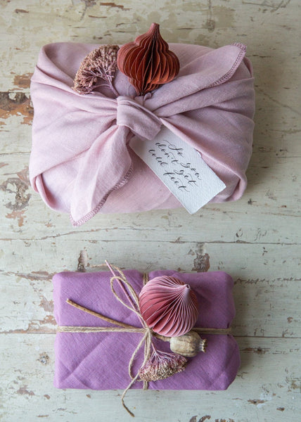 Furoshiki Linen Wrapping – Rosa/Verbena – Pack of 2 - The Small Home