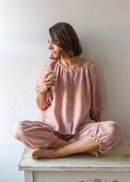 Gingham Pyjamas - Apricot - The Small Home