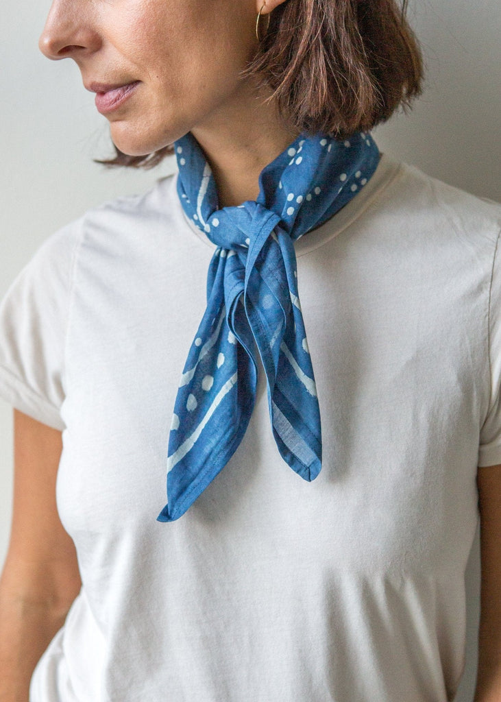Hand Block Print Bandana – Baya – Indigo - The Small Home