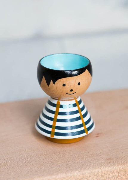 Hand-Painted Egg Cup – Blue Boy Stripes - The Small Home