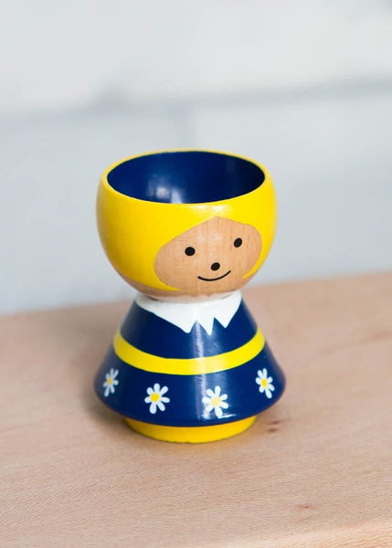 Hand-Painted Egg Cup – Girl Dark Blue - The Small Home
