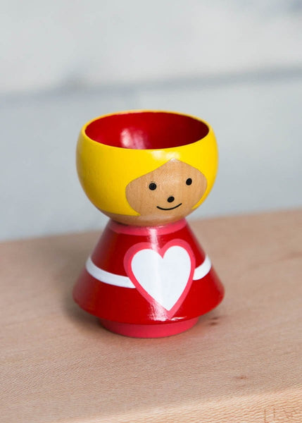 Hand-Painted Egg Cup – Girl Heart - The Small Home
