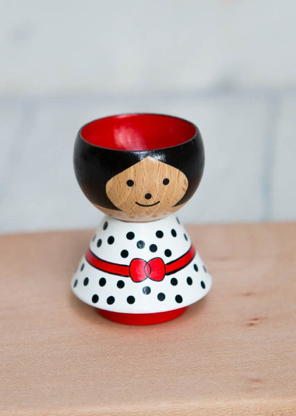 Hand-Painted Egg Cup – Red Bow Girl - The Small Home