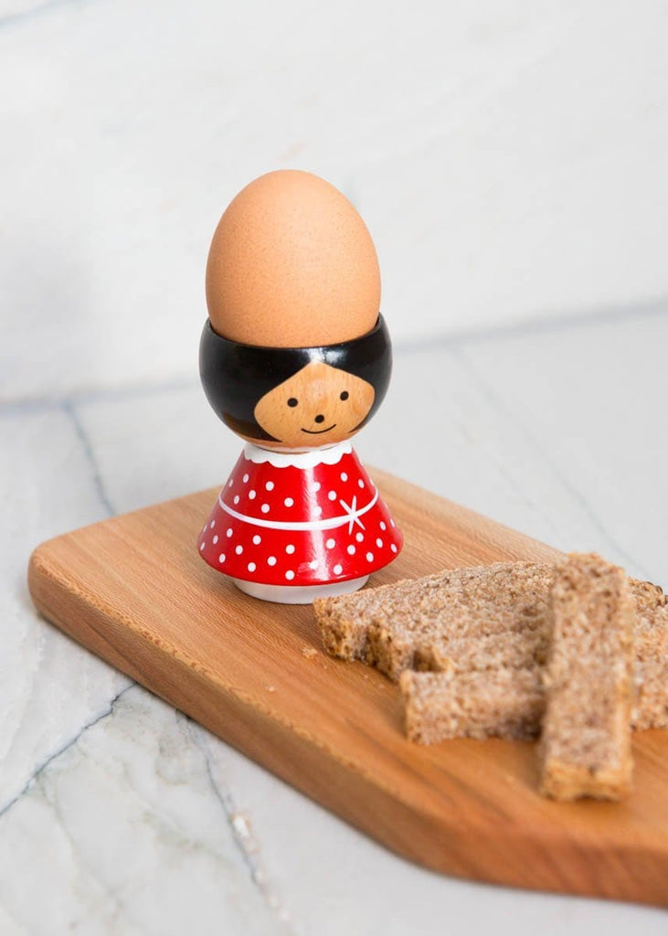 Hand-Painted Egg Cup - Red Girl - The Small Home
