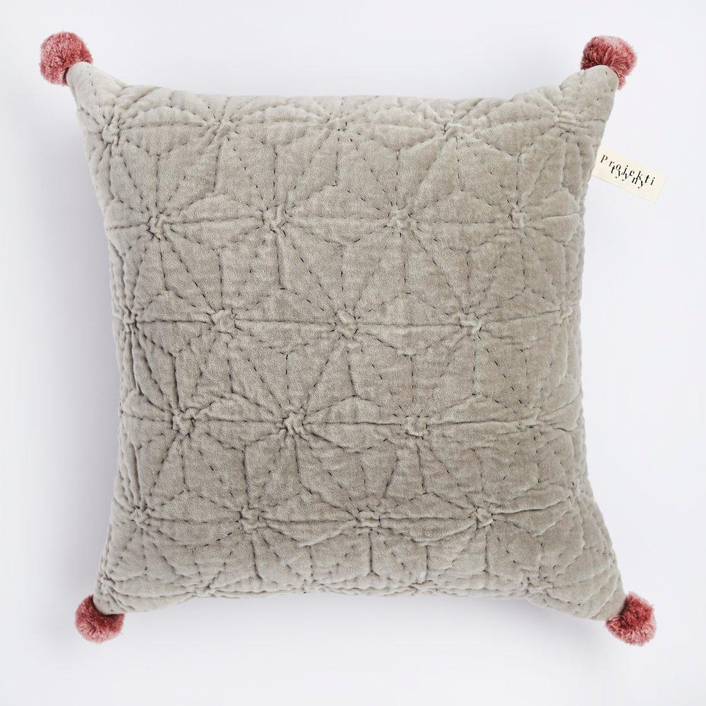 Hand Quilted Velvet Cushion - Grey - The Small Home