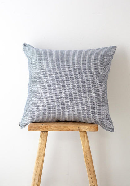 Karin Carlander – Woven Linen Cushion – Indigo/Wheat - The Small Home