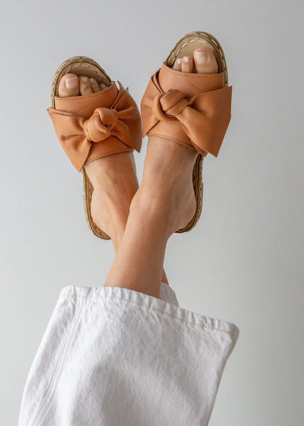 Leather Bow Sandals – Warm Tan - The Small Home