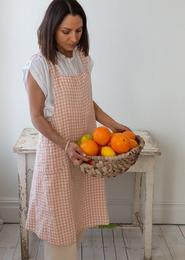 Linen Cross-Back Japanese Apron – Copper Gingham - The Small Home