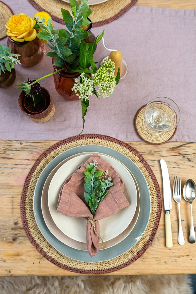 Raffia Placemat – Terracotta/Natural - The Small Home