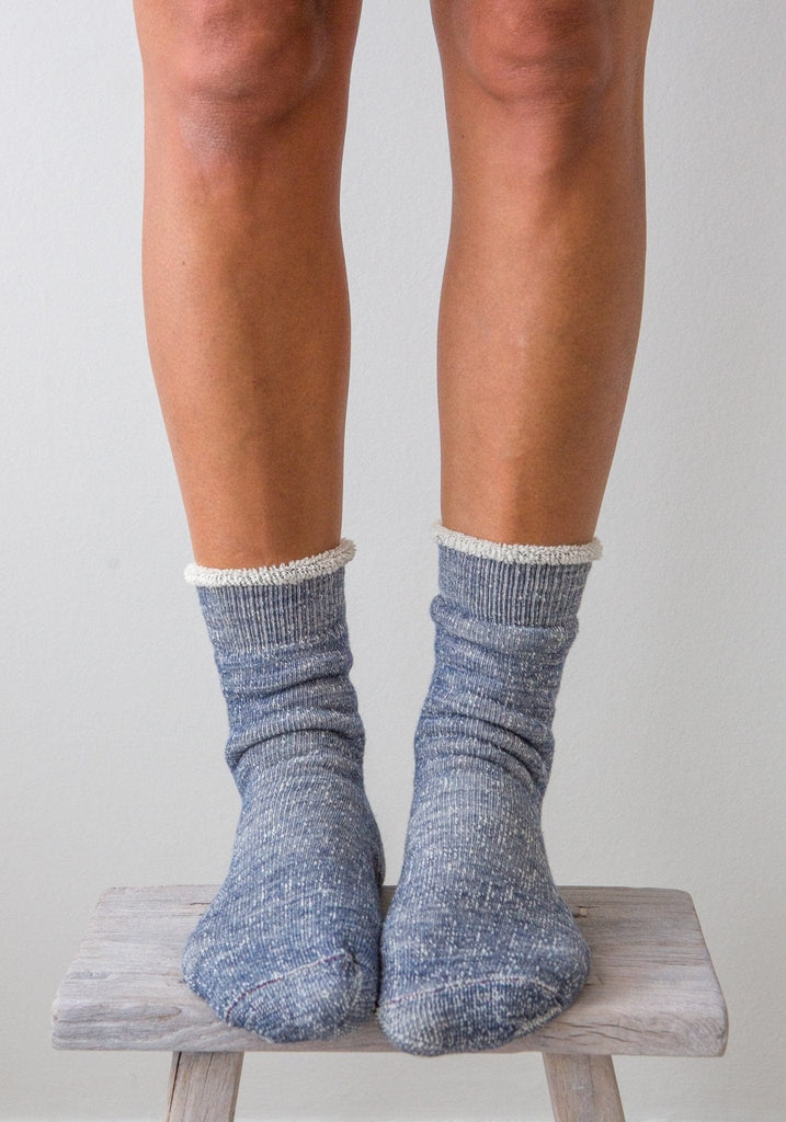 Rototo - Organic Double Face Socks - Denim Blue - The Small Home