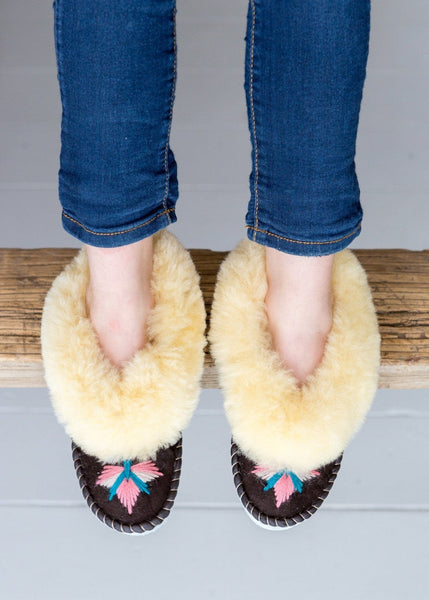 Seconds - Children's Sheepskin Moccasins – Blossom - The Small Home