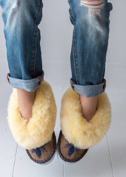 Seconds - Children's Sheepskin Moccasins – Midnight - The Small Home