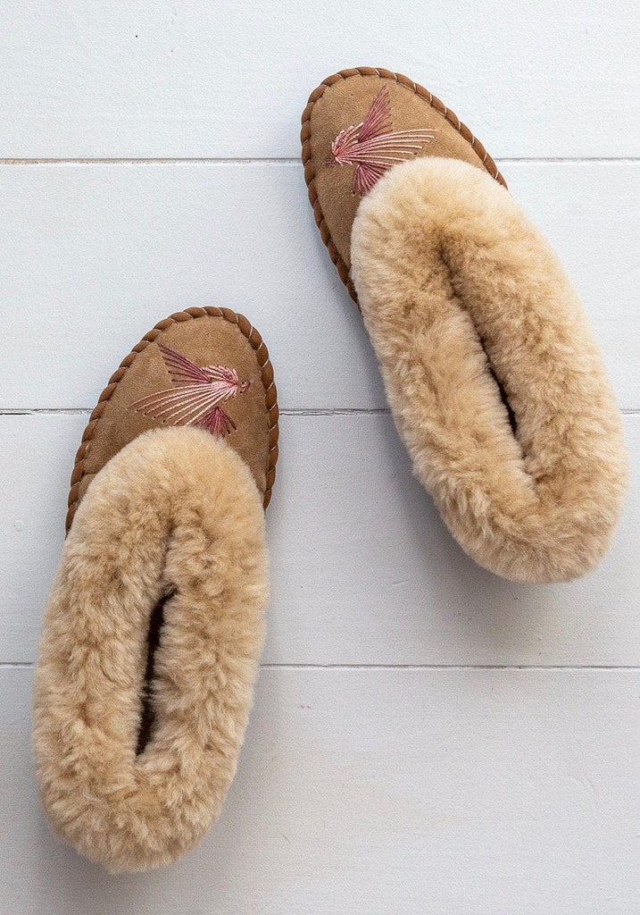 Seconds - Women's Sheepskin Moccasins - Pink Love Birds - The Small Home